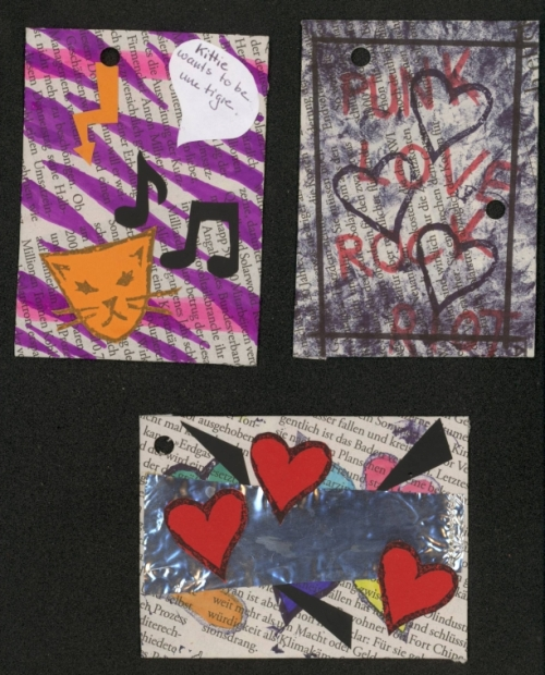 top left: Kitty wants to be une tigre (her french is not very good),  top right: Punk Love Rock Riot (what else do you need more? this ATC is not finished yet; I want to attach a beer bottle cap to it),  bottom: punk at love